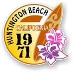 Huntington Beach 1971 Surfer Surfing Design Vinyl Car sticker decal  95x98mm