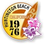 Huntington Beach 1976 Surfer Surfing Design Vinyl Car sticker decal  95x98mm