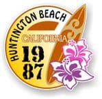 Huntington Beach 1987 Surfer Surfing Design Vinyl Car sticker decal  95x98mm