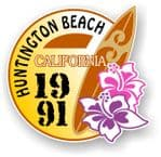 Huntington Beach 1991 Surfer Surfing Design Vinyl Car sticker decal  95x98mm