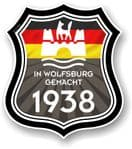 In Wolfsburg Gemacht 1938 Shield Motif Fits All VW External Vinyl Car Sticker 105x120mm