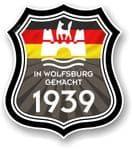 In Wolfsburg Gemacht 1939 Shield Motif Fits All VW External Vinyl Car Sticker 105x120mm