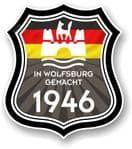 In Wolfsburg Gemacht 1946 Shield Motif Fits All VW External Vinyl Car Sticker 105x120mm