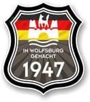 In Wolfsburg Gemacht 1947 Shield Motif Fits All VW External Vinyl Car Sticker 105x120mm