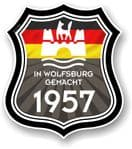 In Wolfsburg Gemacht 1957 Shield Motif Fits All VW External Vinyl Car Sticker 105x120mm