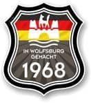 In Wolfsburg Gemacht 1968 Shield Motif Fits All VW External Vinyl Car Sticker 105x120mm