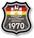 In Wolfsburg Gemacht 1970 Shield Motif Fits All VW External Vinyl Car Sticker 105x120mm