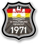 In Wolfsburg Gemacht 1971 Shield Motif Fits All VW External Vinyl Car Sticker 105x120mm