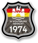 In Wolfsburg Gemacht 1974 Shield Motif Fits All VW External Vinyl Car Sticker 105x120mm