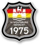 In Wolfsburg Gemacht 1975 Shield Motif Fits All VW External Vinyl Car Sticker 105x120mm