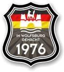 In Wolfsburg Gemacht 1976 Shield Motif Fits All VW External Vinyl Car Sticker 105x120mm