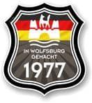 In Wolfsburg Gemacht 1977 Shield Motif Fits All VW External Vinyl Car Sticker 105x120mm