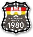 In Wolfsburg Gemacht 1980 Shield Motif Fits All VW External Vinyl Car Sticker 105x120mm