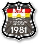 In Wolfsburg Gemacht 1981 Shield Motif Fits All VW External Vinyl Car Sticker 105x120mm
