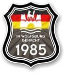 In Wolfsburg Gemacht 1985 Shield Motif Fits All VW External Vinyl Car Sticker 105x120mm