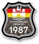 In Wolfsburg Gemacht 1987 Shield Motif Fits All VW External Vinyl Car Sticker 105x120mm
