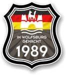 In Wolfsburg Gemacht 1989 Shield Motif Fits All VW External Vinyl Car Sticker 105x120mm