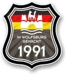 In Wolfsburg Gemacht 1991 Shield Motif Fits All VW External Vinyl Car Sticker 105x120mm