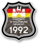 In Wolfsburg Gemacht 1992 Shield Motif Fits All VW External Vinyl Car Sticker 105x120mm