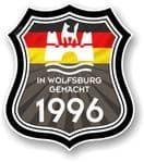 In Wolfsburg Gemacht 1996 Shield Motif Fits All VW External Vinyl Car Sticker 105x120mm