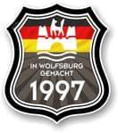 In Wolfsburg Gemacht 1997 Shield Motif Fits All VW External Vinyl Car Sticker 105x120mm