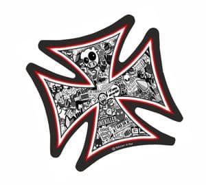IRON CROSS With Black & White JDM Style Stickerbomb Motif External Vinyl Car Sticker 95x95mm