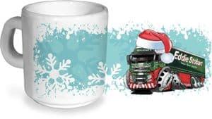 Koolart Christmas Santa Hat Design For Eddie Stobart Truck - Ceramic Tea Or Coffee Mug