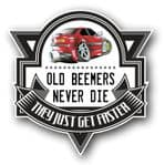Koolart OLD BEEMERS NEVER DIE Motif For Retro red BMW E36 3series Compact External Vinyl Car Sticker Decal Badge 100x100mm