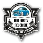 Koolart OLD FORDS NEVER DIE Motif For Retro Mk1 Ford Escort RS Mexico External Vinyl Car Sticker Decal Badge 100x100mm