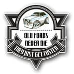 Koolart OLD FORDS NEVER DIE Motif For Retro Mk2 Ford Escort RS Mexico External Vinyl Car Sticker Decal Badge 100x100mm