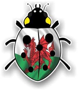 Ladybird Bug Design With Wales Welsh CYMRU Flag Motif External Vinyl Car Sticker 90x105mm