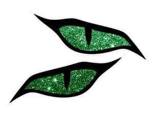 LARGE Pair Of  Evil Eyes Design & Green Glitter Sparkle Effect Biker Helmet Car Sticker 140x60mm