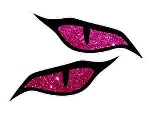 LARGE Pair Of  Evil Eyes Design & Pink Glitter Sparkle Effect Biker Helmet Car Sticker 140x60mm