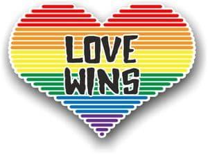 LGBT Heart With Gay Pride Love Wins Motif Vinyl Car Sticker Decal 125x90mm