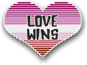 LGBT Heart With Lesbian Pride Love Wins Motif Vinyl Car Sticker Decal 125x90mm