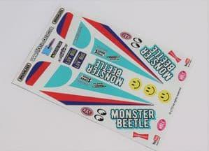 Light Blue Original Kit Style Retro themed vinyl stickers to fit R/C Tamiya Monster Beetle