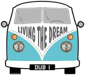 LIVING THE DREAM Slogan For Retro SPLIT SCREEN VW Camper Van Bus Design External Vinyl Car Sticker 90x80mm