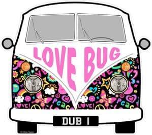 LOVE BUG Hippy Slogan For Retro SPLIT SCREEN VW Camper Van Bus Design External Vinyl Car Sticker 90x80mm