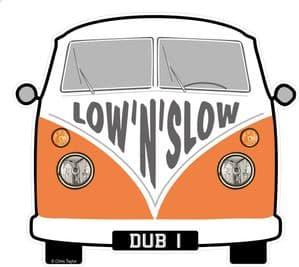 LOW 'N' SLOW Slogan For Retro SPLIT SCREEN VW Camper Van Bus Design External Vinyl Car Sticker 90x80mm
