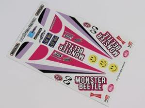 Magenta Pink Original Kit Style Retro themed vinyl stickers to fit R/C Tamiya Monster Beetle (2)