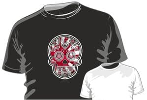 Mexican Day Of The Dead Sugar Skull Design With JDM Drift Style Rising Sun Flag Motif mens or ladyfit t-shirt