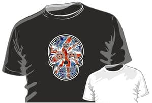 Mexican Day Of The Dead Sugar Skull Design With Union Jack British Flag Motif mens or ladyfit t-shirt
