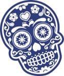 Mexican Day Of The Dead SUGAR SKULL In Dark Blue & White External Vinyl Car Sticker 120x90mm