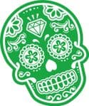 Mexican Day Of The Dead SUGAR SKULL In Green & White External Vinyl Car Sticker 120x90mm