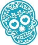 Mexican Day Of The Dead SUGAR SKULL In LIGHT BLUE & White External Vinyl Car Sticker 120x90mm