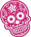 Mexican Day Of The Dead SUGAR SKULL In Magenta & White External Vinyl Car Sticker 120x90mm