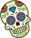 Mexican Day Of The Dead SUGAR SKULL Multi Colour With Diamond Motif External Vinyl Car Sticker 120x90mm
