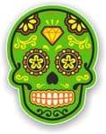 Mexican Day of The Dead Sugar Skull Multi-Coloured Design - Green Motif Vinyl Car Sticker 120x92mm