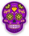 Mexican Day of The Dead Sugar Skull Multi-Coloured Design - Purple Motif Vinyl Car Sticker 120x92mm