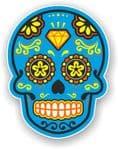 Mexican Day of The Dead Sugar Skull Multi-Coloured Design With Blue Motif Vinyl Car Sticker 120x92mm